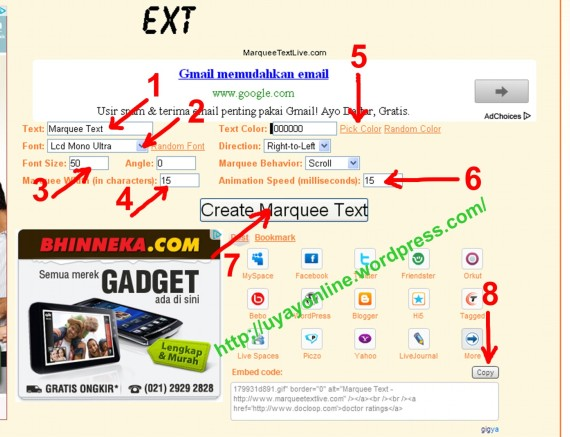Cara membuat tulisan / texs berjalan pada blog